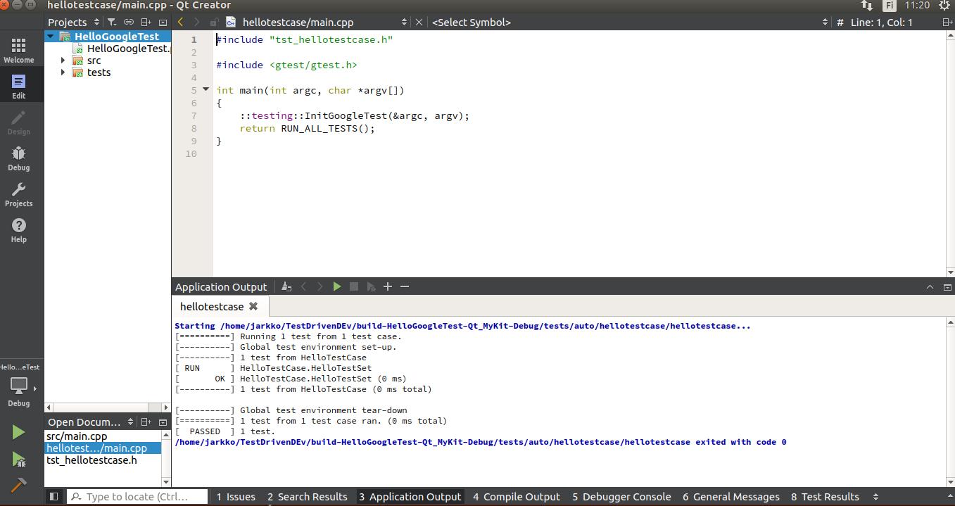 Using CMake and Google C++ Testing Framework with QT Creator
